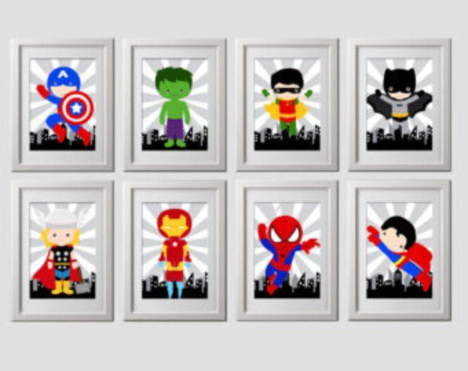 Láminas de pared de superhéroe, super héroe, conjunto de 8 impresiones de ALTA calidad, entrega a su puerta, estándar de 8 x 10 pulgadas cada uno, vivero de superhéroe