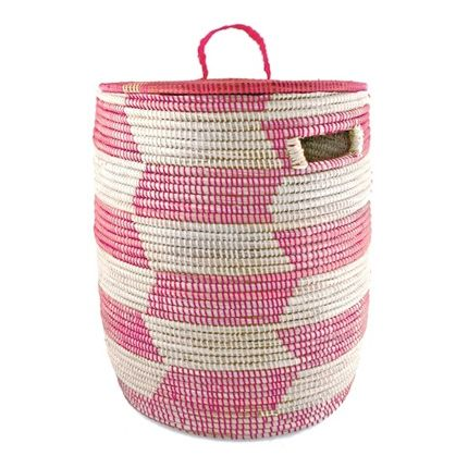 African Woven Storage Hamper 14.5 x 17- Pink (also avail in Yellow), $100, connectedgoods.com