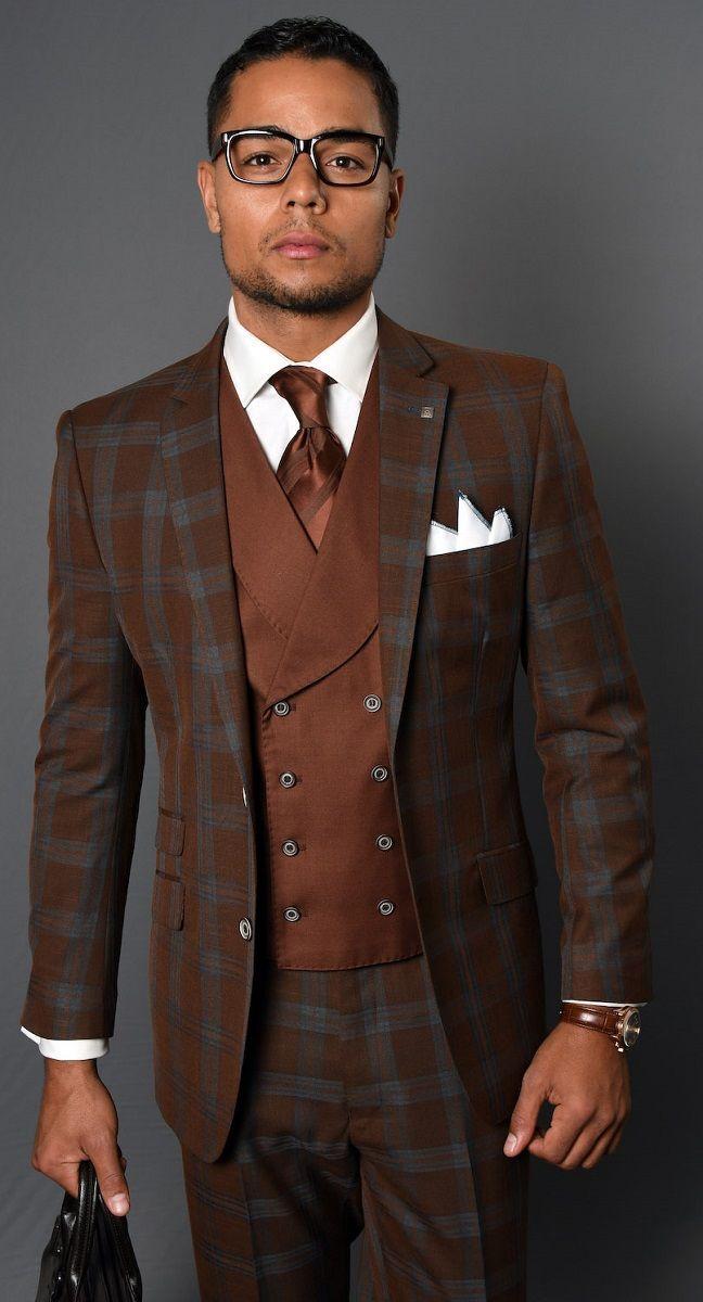 Men Groom Suit Brown Plaid Business Professional Business Suit 3 Pieces Custom