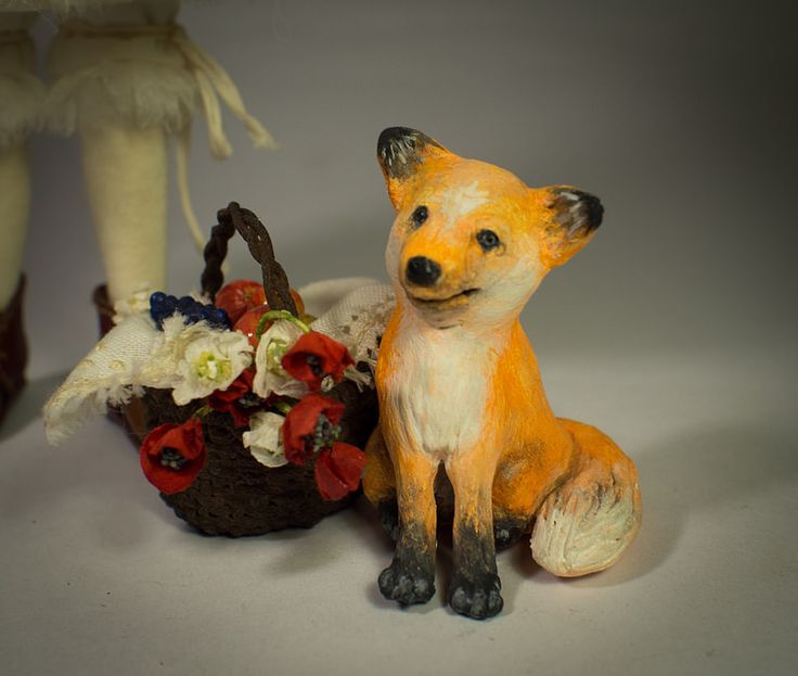 Little Gardener and Fox Handmade air-dry clay doll, OOAK by Romantic Wonders