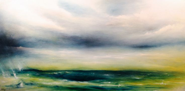 """Looming Tranquility"" by Daniel Rigos. Abstract Surreal Landscape Oil Painting for Sale on Bluethumb - Online Art Gallery, Australia. 92cm (W) x 46cm (H) - $800 AUD"
