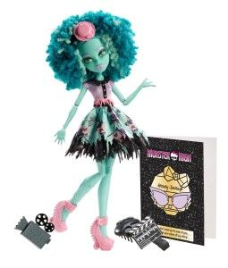 Monster High Dolls: Frights, Camera, Action! Honey Swamp Doll Honey Swamp, daughter of the Swamp Monster and an aspiring cinematographer. She can capture any moment with her video camera and make a scene with her claw-toothed clapboard that actually opens and closes. http://awsomegadgetsandtoysforgirlsandboys.com/monster-high-dolls/ Monster High Dolls: Frights, Camera, Action! Honey Swamp Doll