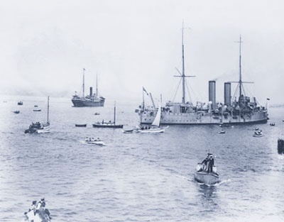 When the Komagata Maru arrived in Canada, it wasn't allowed to dock Picture: Komagata Maru (furthest ship on the left) being escorted by HMCS Rainbow