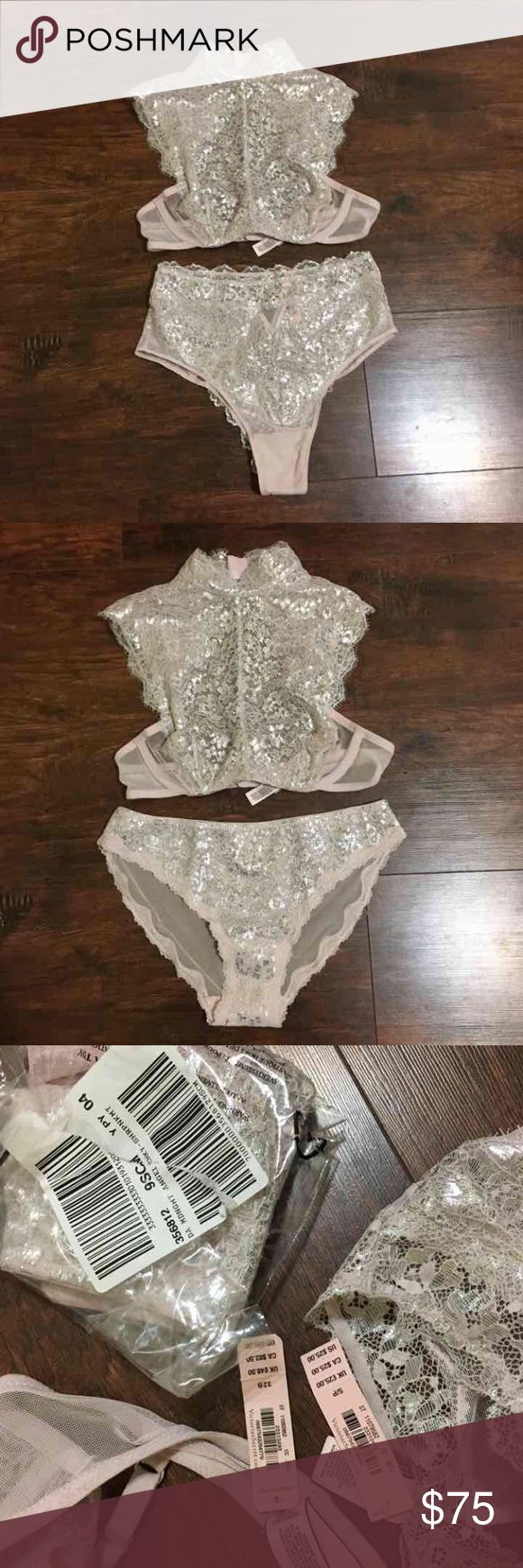 Victoria secret lingerie set All new with tags. Metallic. Dream angels wicked line. Underwear is a medium and small. Bra is 32B Victoria's Secret Intimates & Sleepwear Bras