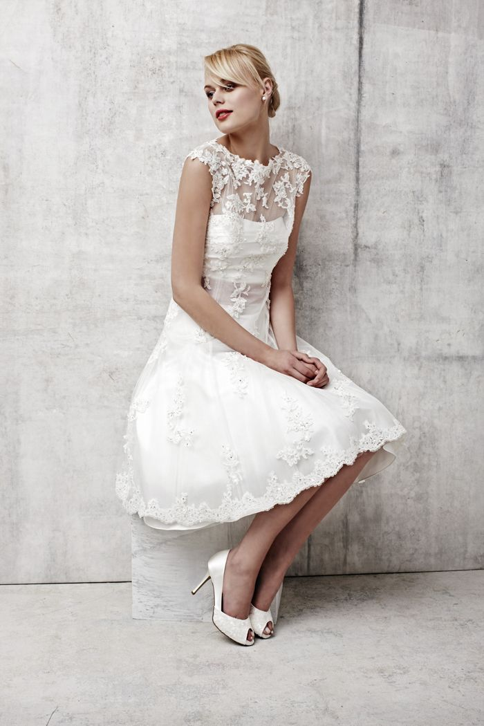 Ivory Lace Tea Length Dresses for Women