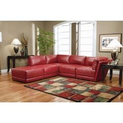 Red Couch For Sale | Online Sofa For Sale: Red Leather Sectional Sofa