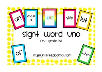 Free! Sight word UNO! 5 decks of UNO cards based on the 5 Dolch word lists. Each deck has 4 sight word cards for each word, 8-12 WILD cards, Draw 2! Fun reinforcer.