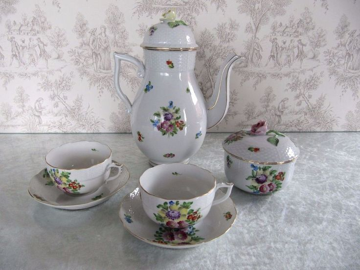 Old Mark Herend Hungary VB Floral Pattern 2 Cup Saucer Tea Pot Sugar Bowl Set