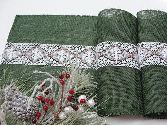 Christmas table runner Green burlap table runner by HotCocoaDesign, $28.00