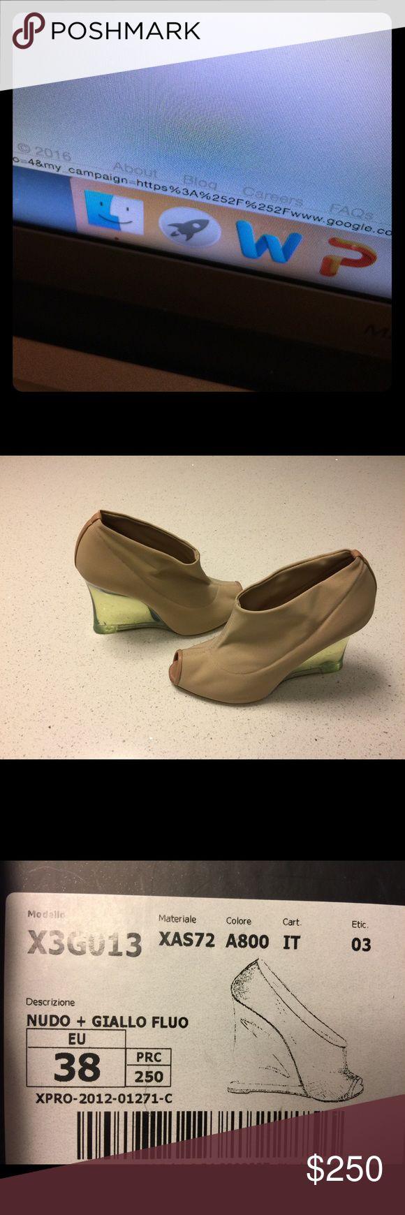 Emporio Armani Nudo + Giallo Fluo 38 Nude with acrylic wedge Emporio Armani Shoes Wedges