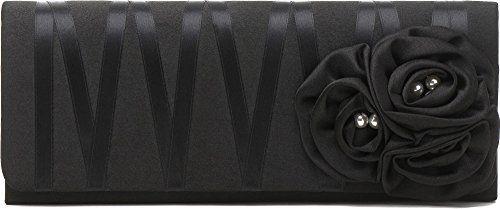 Clutch, Umhängetasche, Unterarmtasche aus Satin mit Rosen Aplikation mit Perlen Dekoration mit abnehmbare Kette (120 cm), Farbe:Schwarz