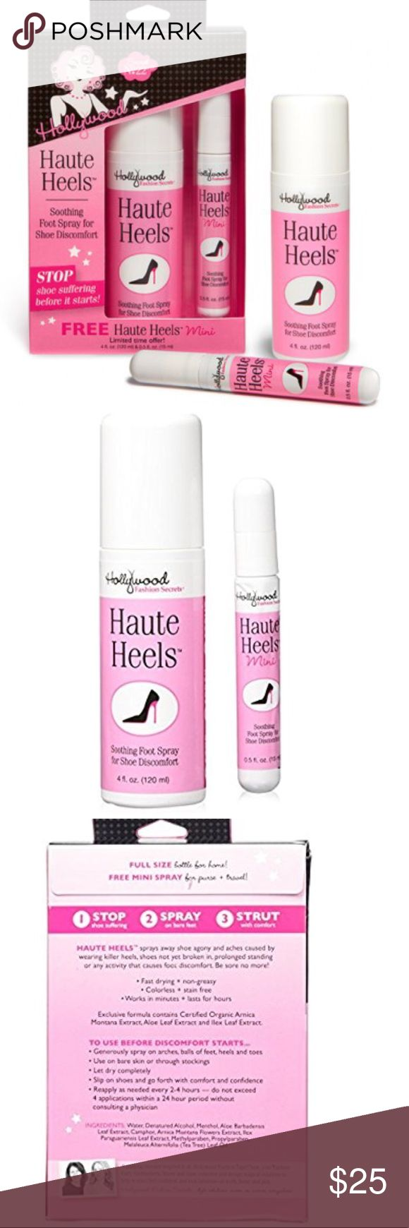 HAUTE HEELS™ VALUE PACK – LIMITED EDITION Stop suffering for style! With Hollywood Fashion Secrets Haute Heels, you can relieve foot pain and aches  Secret No. 22: We love and care for our shoes, but they don't always return the favor! Spray away shoe agony and aches from heels and flats with Haute Heels™ foot spray. The exclusive formula of Certified Organic Arnica Montana Extract, Aloe Leaf Extract and Ilex Leaf Extract is perfect for prolonged standing or any activity that causes…