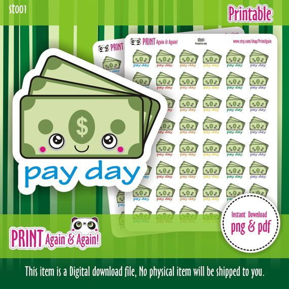 Pay Day/Payday USD Planner Stickers Filofax Erin by PrintAgain
