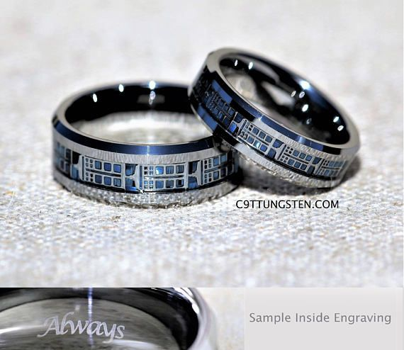 6mm And 8mm Police Box Tungsten Wedding Set Silver Chrome Etsy Tungsten Carbide Wedding Rings Tungsten Wedding Rings Wedding Rings