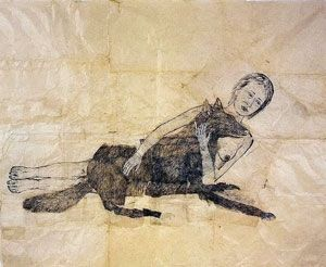 'Lying with the Wolf', ink and pencil drawing by Kiki Smith, 2001 - Kiki Smith - Wikipedia, the free encyclopedia