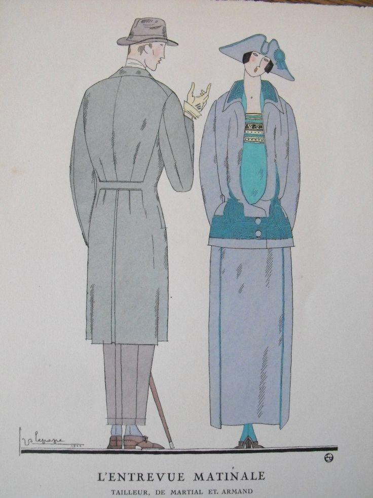 Georges Lepape  L'Entrevue Matinale Gazette du Bon Ton 1922  Pl. 46 Martial et Armand - Lus et Befve de la boutique FrenchFashionArtDeco sur Etsy