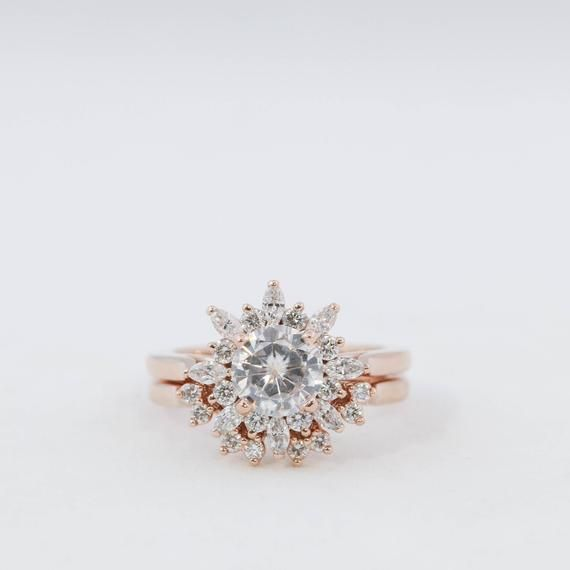 eaa5f57dd539c Moissanite Wedding Set // Morganite Wedding Set // Diamond Halo ...