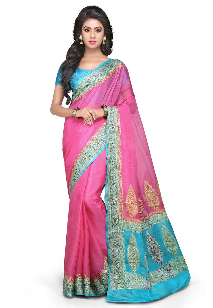 Woven Pure Georgette Saree In Pink : SHR360