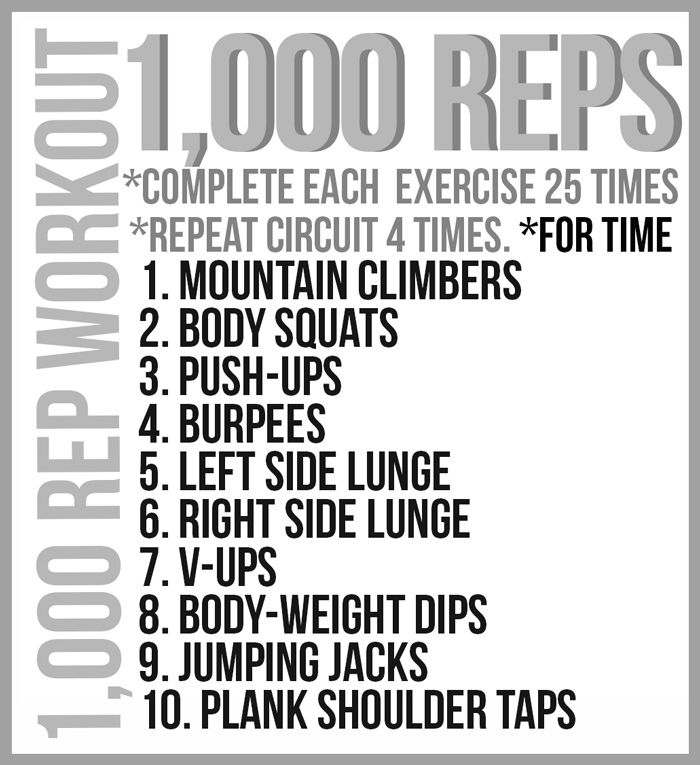1000 rep workout- for the days I can't get to the gym... Substitute ring dips for seated dips