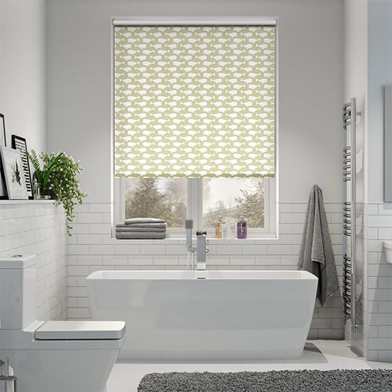 Perfect for a light and neutral bathroom, this Sea Life beige blind brings an element of quirkiness and fun, with a funky pattern of whales on a natural beige background.