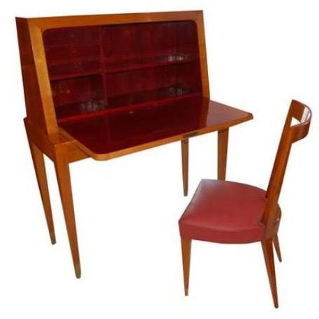 Gio Ponti Desk and Chair by Casa e Giardino | From a unique collection of antique and modern secretaires at https://www.1stdibs.com/furniture/storage-case-pieces/secretaires/