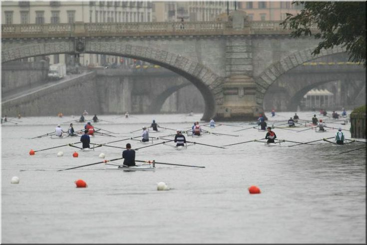 Torino. Canoe sul Po, province of Turin, Piemonte region Italy