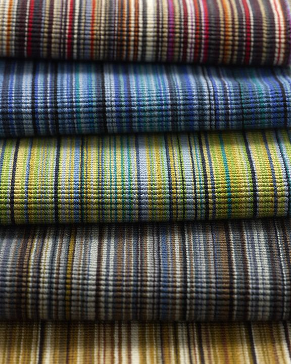 Striae Stripe Upholstery is based on Rugby, a 1955 fabric designed by a then well-known Swedish textile designer, Astride Sampe (1909-2002). The textile was featured in the famous Good Design show at the Museum of Modern Art.