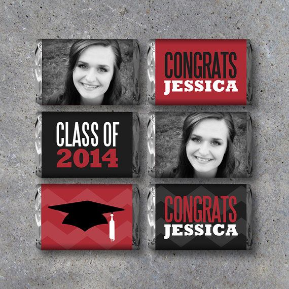 Graduation Printable Mini Candy Bar Wrappers personalized w/ your graduate's photo, name & school color! Great for graduation parties. By Studio 120 Underground, $10.