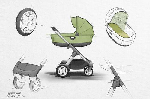 Stroller industrial design sketch