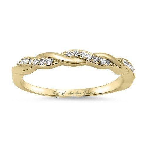 A Classic 14K Yellow Gold Russian Lab Diamond Twist Wedding Band Ring