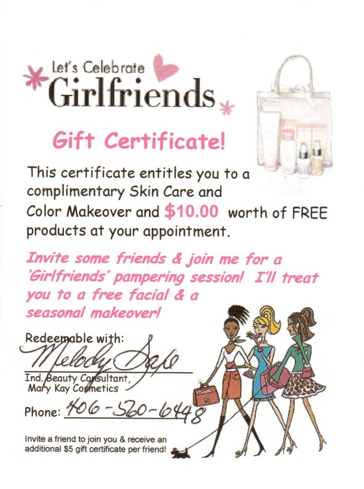 "I am on fire! And, this is fantastic for all of you! Check out the gift certificiate that I am attaching for all of you! Let's get together and do that facial/color consultation! Having alot of fun with alot of gals...and guys, I have facial programs for you as well, along with some awesome colognes for men that women will love! You don't have to ""have a party"" guys! But, have an awesome facial line complete with a moisturizer with a great sunscreen! Check out my Mary Kay online catalog for…"