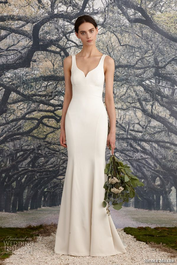 nicole miller spring 2016 bridal sleeveless strap stretch twill sheath wedding dress abigiail