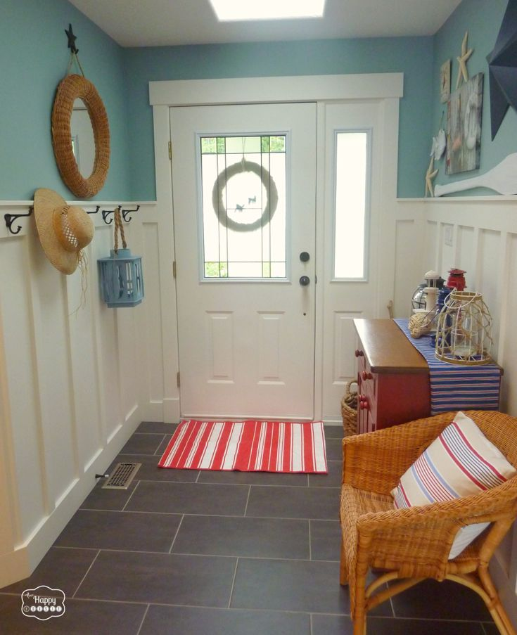 Red White Blue Coastal Entry Hall Door View 1 Room 3 Ways At Thehappyhousie