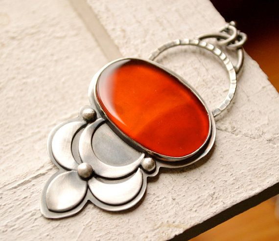 Blooming Lotus Necklace, Large Handcrafted Metalwork Necklace in Sterling Silver and Carnelian