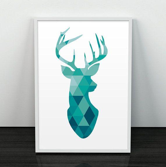 Silhouette de cerf cerf de Poster Poster par ShopTempsModernes                                                                                                                                                                                 Plus
