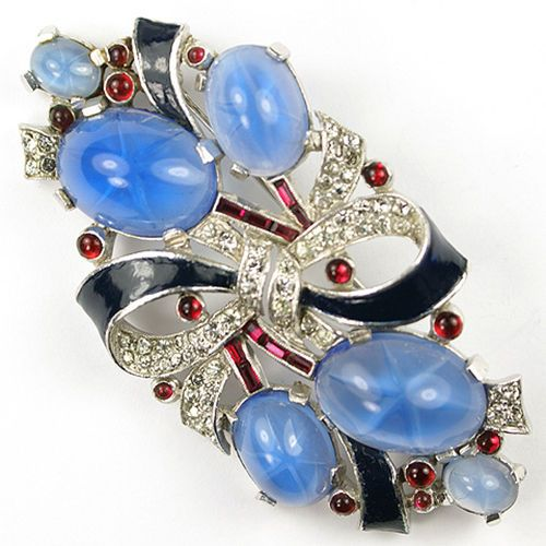 Trifari Philippe Red White Blue Star Sapphire Invisibly Set Rubies Bow Pin
