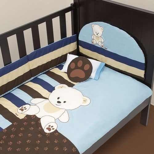 set de edredon para cuna de bebe baby blue protector baranda