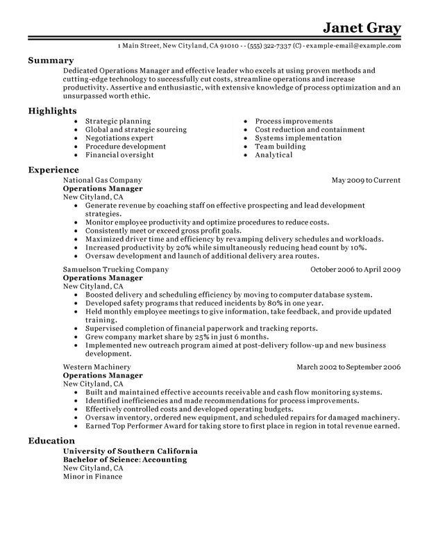operations manager sle resume sle professional Try Pinterest - operations manager job description