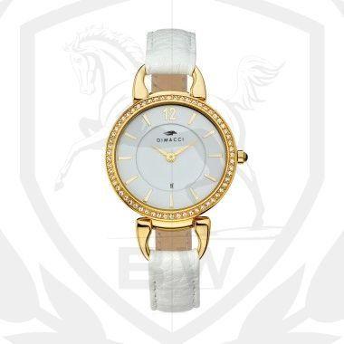 Consulate Uhr mit Ridingapplikationen, vergoldetes Edelstahl-Gehäuse , Zirkonia Pavee, 3 ATM, weißes Kalbsleder-Armband, Uhrwerk: Citizen-Miyota, 2-Zeigerwerk, weißes Zifferblatt Eine modifizierte Trense erinnert mit seiner runden Form an eine Taschenuhr - die feminine Ausführung mit Zirkonia-Steinen auf der Lünette machen aus der Uhr CONSULATE einen unverzichtbaren Klassiker!  http://www.black-or-white.eu/dimacci-consulate-kalbsleder-wei.html