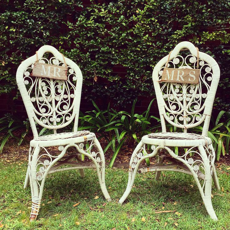 Our vintage peacock chairs + hanging chair signs are the perfect addition for your wedding ceremony. www.thevintageway.com.au