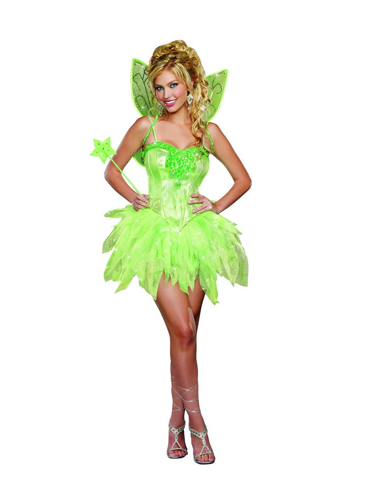 dreamgirl womens sexy and sparkly tink absinthe costume fairy licious green - Green Fairy Halloween Costume