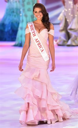 Miss #SouthAfrica #Rolene Strauss parades during the grand final of the #MissWorld 2014