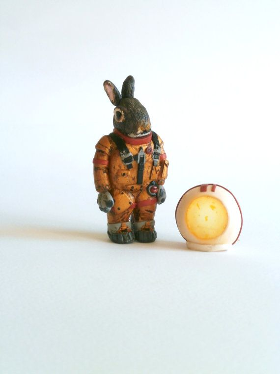 Rabbit astronaut animal miniature polymer clay brooch by Lijoux