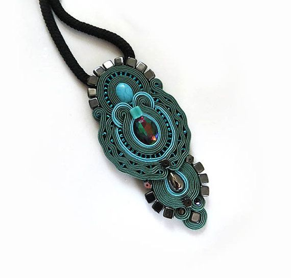 Indian dark green necklace Statement necklace by sutaszula on Etsy