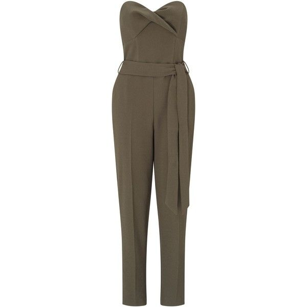 Miss Selfridge Khaki Bandeau Jumpsuit ($64) ❤ liked on Polyvore featuring jumpsuits, khaki, women, brown jumpsuit, jump suit, khaki jumpsuit, miss selfridge and miss selfridge jumpsuit