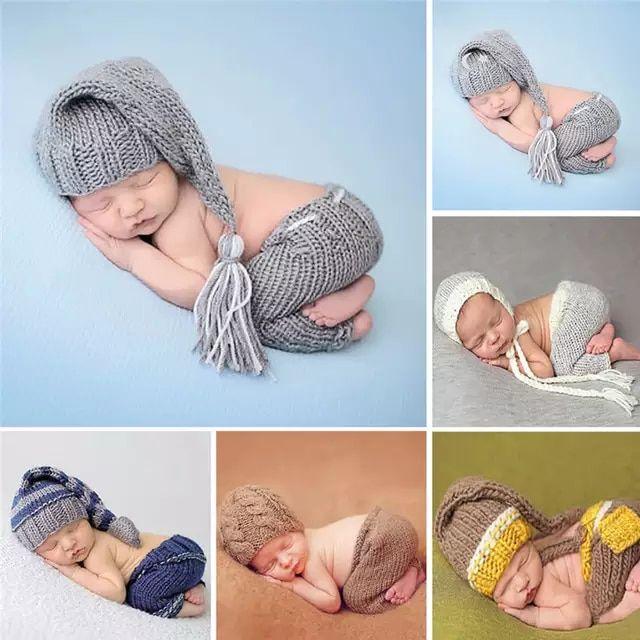Conjunto De Pantalones De Sombrero Suave Tejido A Mano Conjunto De Traje De Bebé Fotografías De Bebés Recién Nacidos Accesorios De Fotografía De Recién Nacidos