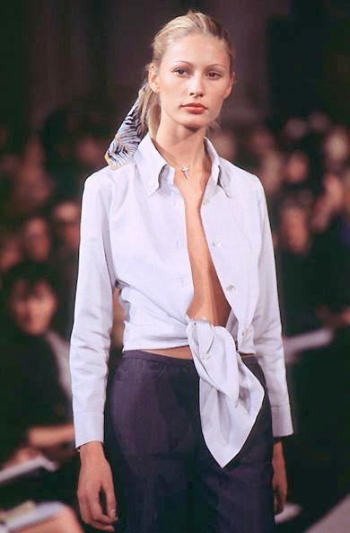 kirsty hume at marc jacobs ss 1996 [firstview] crisp white button down | indigo trousers | scarf as hair accessory.