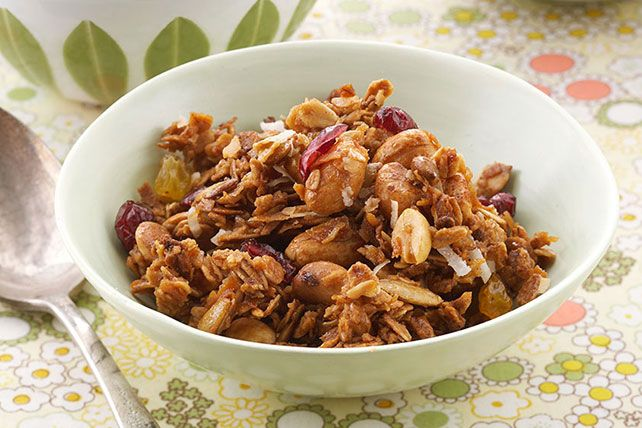 Latin favorites like pepitas, coconut, peanuts and canela flavor this granola making it not-your-ordinary granola.
