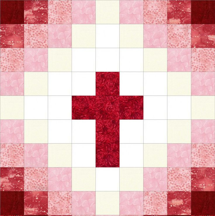 "This easy to sew religious cross quilt kit can be made into a perfect baby quilt with beautiful red tones from white to dark red. Perfect beginner quilt kit for wall-hangings, baby quilts, table toppers, lap, stroller, car or park quilt and so much more. Fabrics by: Makower, SSI, Michael Miller, Fabri-Quilt, Red Rooster. Quilt kit includes pre-cut fabric for quilt top plus pattern. Finished quilt size 40"" x 49""."