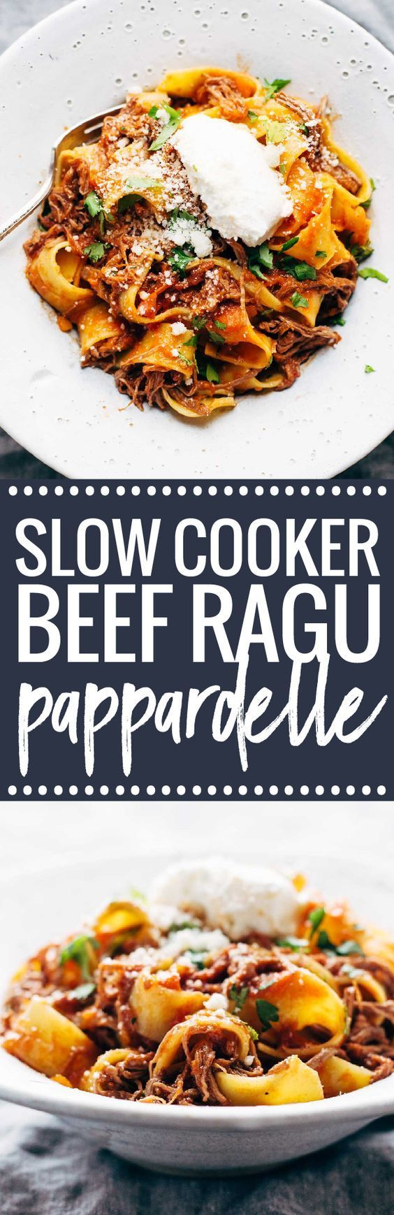 Slow Cooker Beef Ragu with Pappardelle - easy comfort food from the new Skinnytaste cookbook! | pinchofyum.com